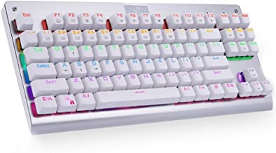 MechanicalEagle Z-77 Multi-Color Backlit Mechanical Gaming Keyboard Tenkeyless (87-Key) Keyboard with Solder-Free Blue Switches   Tactile and Clicky switches- White
