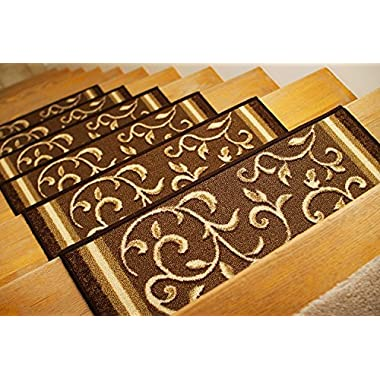 Gloria Rug Skid-Resistant Rubber Backing Gripper Non-Slip Carpet Stair Treads - Washable Stair Mat Area Rug (SET OF 7), 8.5  x 26 , Brown Floral Design