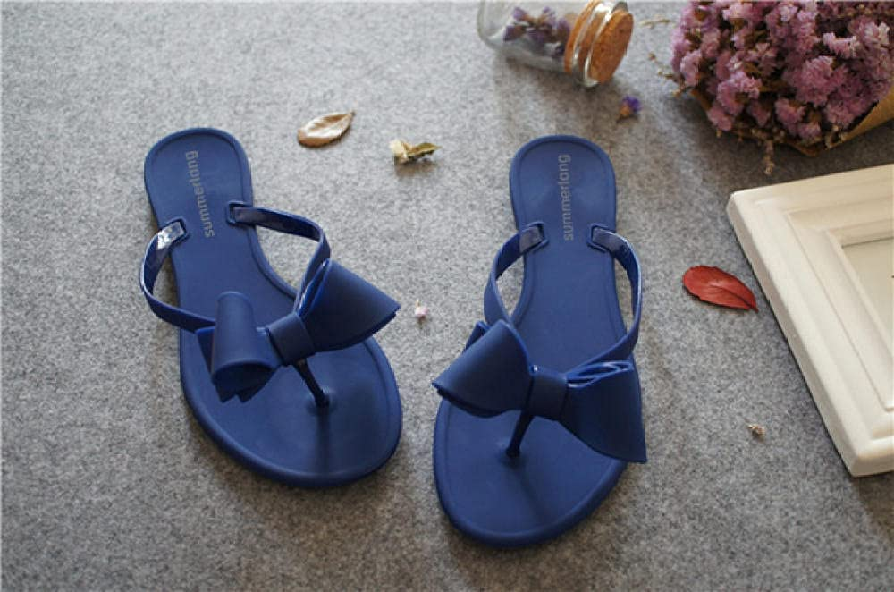 COQUI flip Flop Men,Summer Episodes Bow Cool Slippers Female Beach Shoes Solid Color Character Trail Frozen Shoes-Blue_39