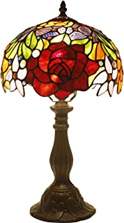 Tiffany Style Table Lamps 10 inch Wide Red Stained Glass Rose Lamp Shade 1 Bulb Desk Antique Light Zinc Base for Girlfriend Living Room Bedroom Bedside Table Set S001 WERFACTORY