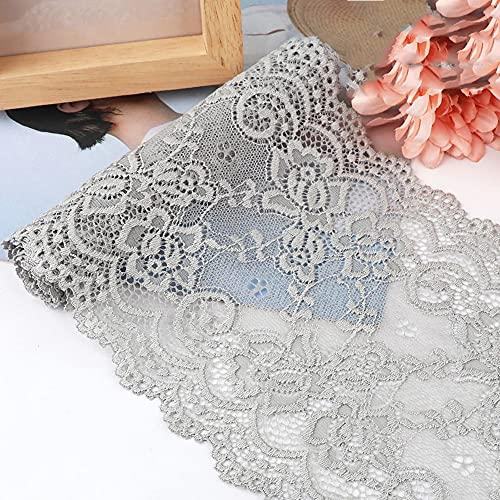 Cinta elástica de encaje de 15 cm x 1 m, cinta decorativa de encaje para costura, manualidades, decoración para ropa interior, ropa interior, vestido de boda, decoración de mesa, color gris