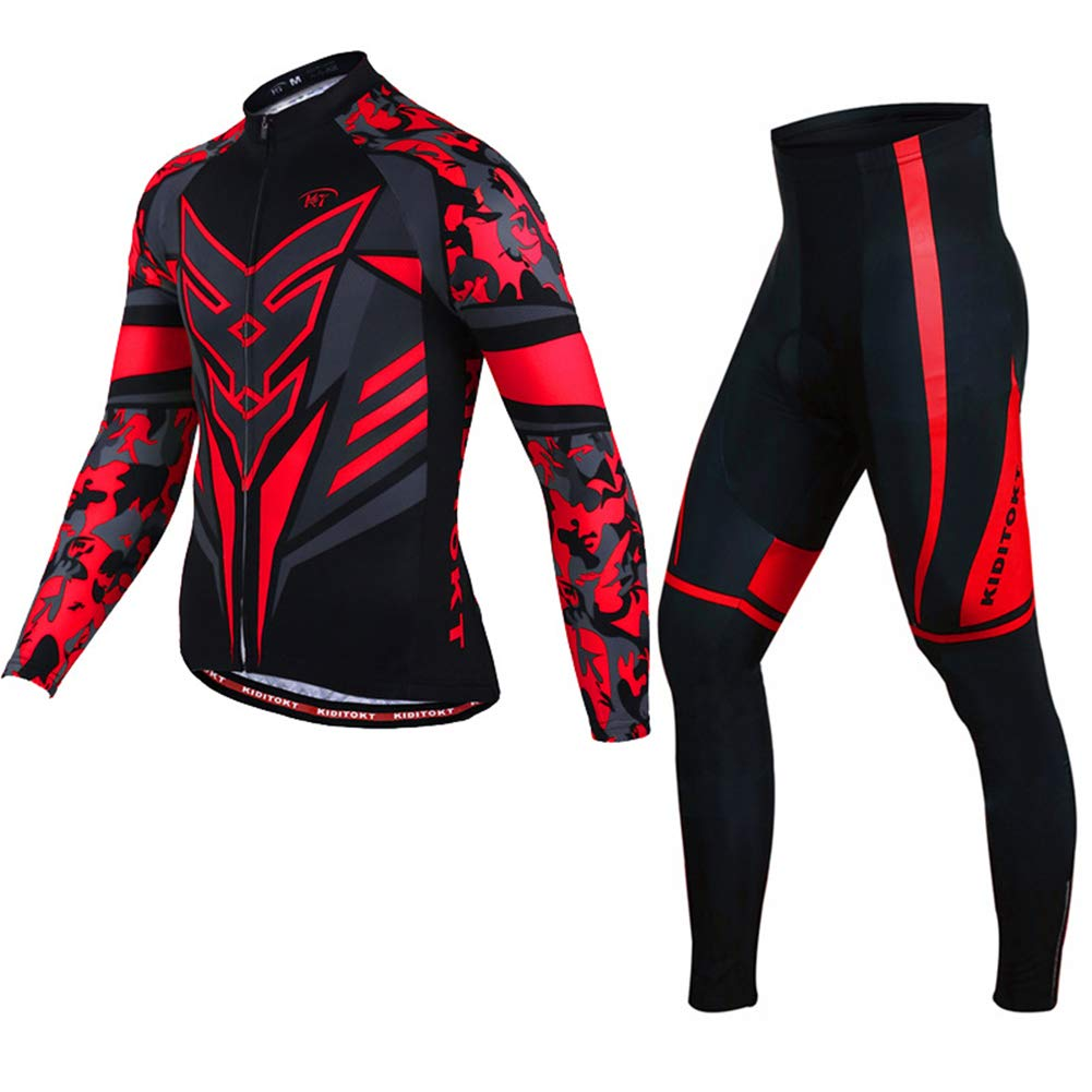 LRZ Ropa de Ciclismo, Traje de Hombre con Cremallera Completa, Manga Larga, Camisa de Bicicleta y Mallas de Ciclismo Acolchadas en 3D,XL: Amazon.es: Deportes y aire libre