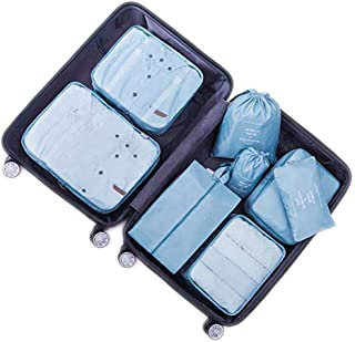 8 Set Travel Storage Bags Packing cubes Multi-functional Clothing Sorting Packages,Travel Packing Pouches,Luggage Organizer (8 set lake)
