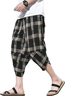 Sponsored Ad - PRIJOUHE Men's Harem Pants Casual Lightweight Elastic Waist Wide Leg Baggy Linen Capri Pants Trousers