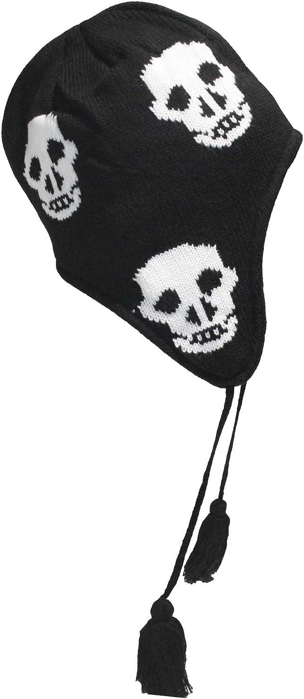 Black Skull Face Design Peruvian Style Beanie