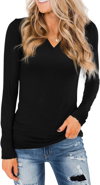 Davenil Women's Long Sleeve V-Neck Tops Casual Pullover Sweater Agaric Hem Shirts Tunic Tops for Leggings