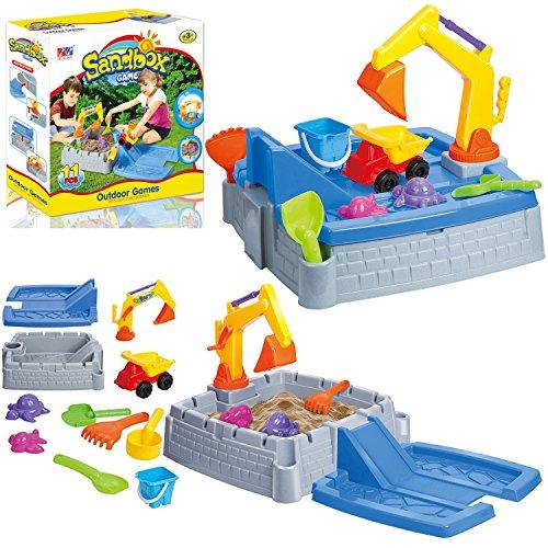 2 in 1 Kids Sand Box Water Table Outdoor Garden Play Set Truck Crane...