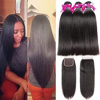 Subella Brazilian Straight Hair 3 Bundles with Closure Grade 9A Unprocessed Brazilian Virgin Human Hair Bundles with Closure Natural Black Color (22 24 26+20inch)