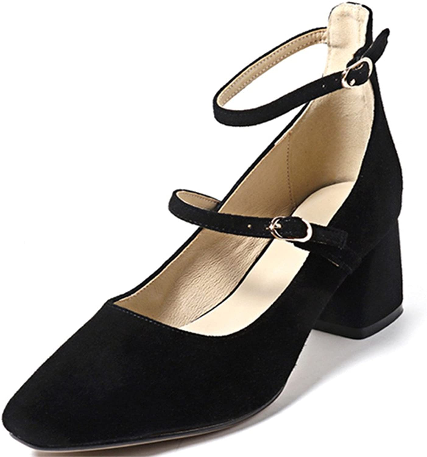 Nine Seven Suede Leather Women's Square Toe Chunky Heel Handmade Ankle Strap Pumps shoes Mary Jane