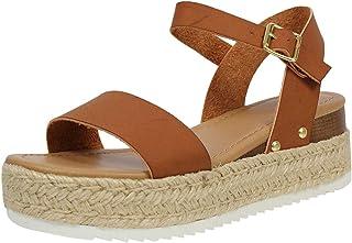 Women's Ankle Strap Sandals Platform Open Toe Casual Roman Shoes Chunky Heel Pumps Flat Sandals