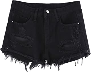 MAKEMECHIC Women's Frayed Raw Hem Ripped Distressed Denim Shorts
