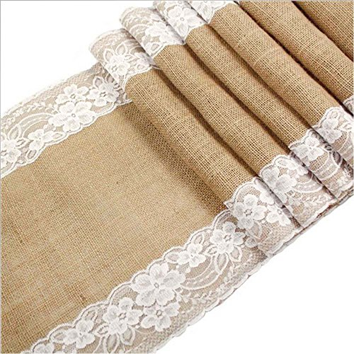 "Awtlife 12 x 120 Inch Burlap Table Runner for Wedding Bridal Shower Baby Shower Party Decor, Thanksgiving, Christmas, Engagement (120"" x12"")"