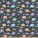 ABAKUHAUS Elefante Tela por Metro, Elefantes Coloridos Pájaros, Satén para Textiles del Hogar y Manualidades, 1M (148x100cm), Multicolor
