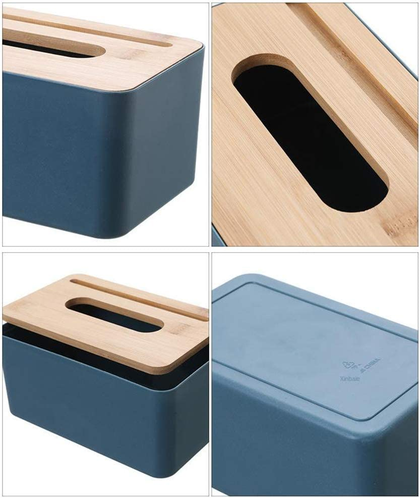 Beige SM SunniMix Bamboo Tissue Box Paper Holder for Bathroom Dining Table Hotel Rooms Fashion Style