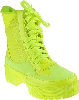Lemonade Womens Chunky Heel Lace Up Platform Military Combat Boots