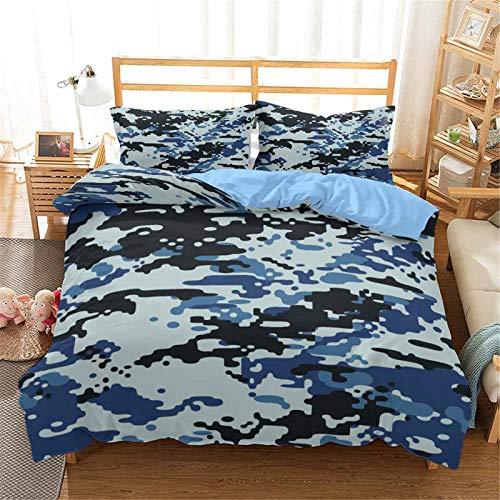 Juego de funda nórdica de camuflaje 3D verde azul patrón impreso ropa de cama de fácil cuidado fundas de edredón de microfibra y fundas de almohada para niños niños niños,Jrr3,135 * 210cm