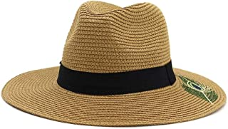 JAUROUXIYUJI New Panama Hats for Men Straw Sun Hats Women Beach Couple Sun Visor Hats Wide Brim Summer Fedora Jazz Cap (Color : Coffee, Size : 56-58CM)
