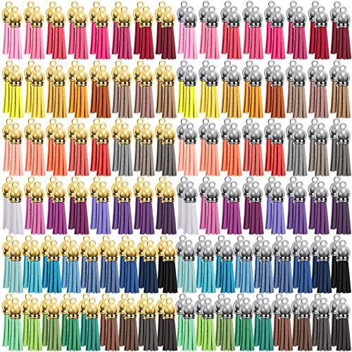 Duufin 200 Piezas Borlas de Llaveros Colgantes de Borlas Mini Borlas de Ante para Llavero DIY Accesorios, 40 Colores (Gorra de Plata y Dorada)