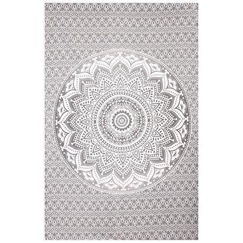 Bohemian Mandala Tapisserie Coton indien Décoration murale à suspendre faite à la main décoratifs style traditionnel tapisseries Housse de table ethnique Home Decor Plage Couvre-lit Tapis de yoga Art, Coton, gris, WWKUS0224