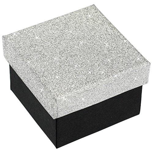 EYS JEWELRY Glitzer Schmuck-Etui für Ring 50 x 50 x 35 mm Kartonage silber-farben Ring-Box Schachtel Schatulle Geschenk-Verpackung