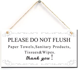 zhongfei Warning Sign- Please Do Not Flush Paper Towels, Sanitary Products, Tissues & Wipes Vintage Style Sign/Plaque (5