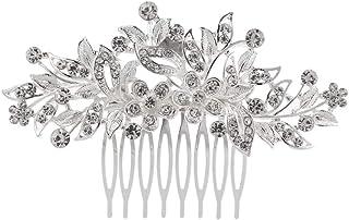 مشط شعر الزفاف من العلامة التجارية KaLaiXing مع رأس رأس رأس الزفاف بلآلئ كريستال ورأس وصيفة العروس - Hua23