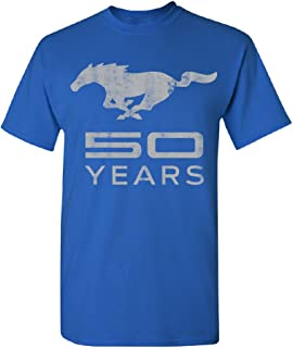 Mustang 50 Years Licensed Product Men's T-Shirt Horse Official Ford Tee