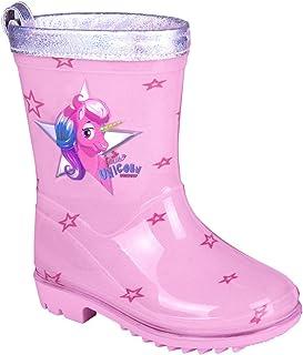 PERLETTI Botas de Agua Niña Unicornio - Botines Infantiles Impermeables de Moda Rosa Estampados Estrellitas - Suela Antide...