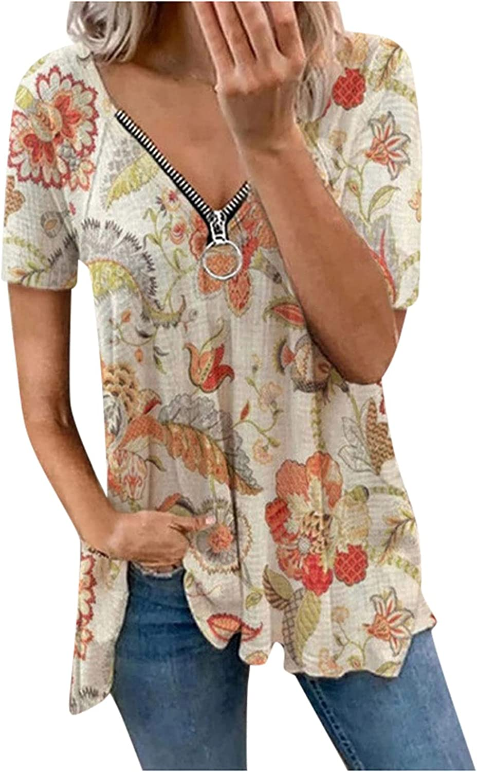 Women's Short Sleeve Printing Prints Max 73% OFF V Loose Casual Recommendation Plaid Pocket