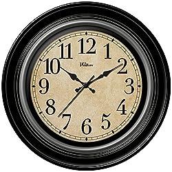 Ashton Sutton Round Quartz Analog Wall Clock, 12-Inch, Deep Dish Black Case with Silver Bezel