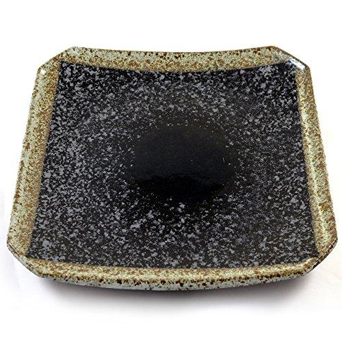 Plaque Carrée En Céramique Japonaise Pour Sushi Et Cuisine Asiatique - Chatoiement Noir En Grès émaillé - 19cm