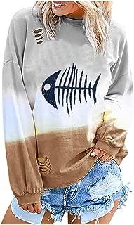 Fitfulvan Women's Fish Bone Printed Pullover Gradient Color Long Sleeve Sweatshirt Casual Loose Tops