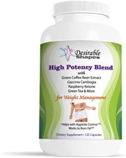 HIGH POTENCY HERBAL BLEND WITH GREEN COFFEE BEAN, GARCINIA CAMBOGIA, GREEN TEA, RASPBERRY KETONE, ACAI BERRY & MORE SUPPLEMENT FOR WEIGHT LOSS MANAGEMENT HELPS WITH DIET PLAN 120 caps per bottle