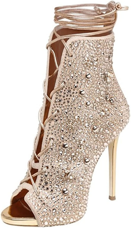 Women's High Heels Boots Sandals Peep Toe golden Ankle Platform Shiny Buckles Evening Party Pump Court shoes
