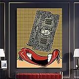 XMYC Impresiones para Paredes Fun Money Mouth Labio Rojo Póster Abstracto Moderno Impresiones Imagen Living Wall Decor70x90cm sin Marco