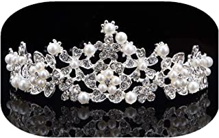 Bridal Crown Crystal Pearls and Rhinestones for Wedding Bridesmaid Tiara with Flower Leaves Women Birthday Hair Accessories