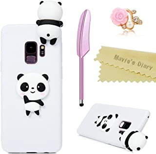 Galaxy S9 Case, Mavis's Diary 3D Cute Creative Design Ultra Slim Fit Crystal Silicone TPU Shockproof Anti-Scratch Rubber Skin Cover with Dust Plug & Stylus for Samsung Galaxy S9 (Cute Panda)