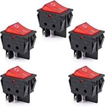 Clyxgs Boat Rocker Switch 16A/125V 16A/250V DPST 4Pins 2 Position ON/Off Red LED Light (Pack of 5)