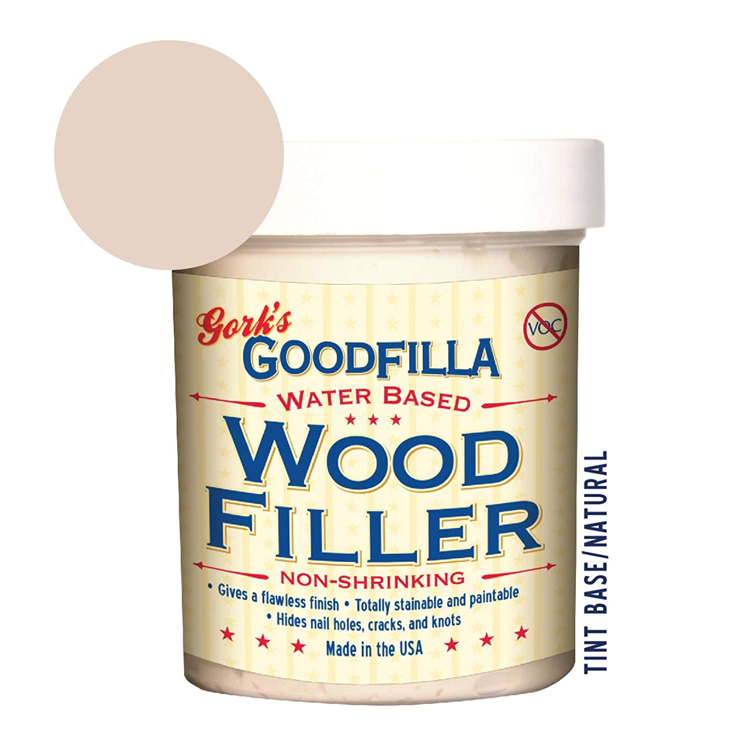 Water-Based Wood & Grain Filler - Base/Neutral - 8 oz By Goodfilla   Replace Every Filler & Putty   Repairs, Finishes & Patches   Paintable, Stainable, Sandable & Quick Drying