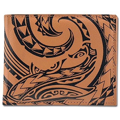 Billetera de tatuaje polinesio para hombre de piel auténtica, arte de tatuaje de tiburón 'Mano' por Kuaika Quenga de NAKOA, Bronceado, Una talla, billetera estilizada