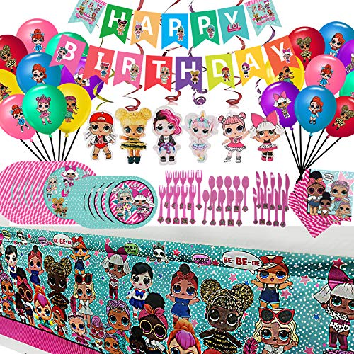 Dream Baby L.O.L. Birthday Party Supplies Set, For Girls LOL Theme Party Decoration, Birthday Decor includes Happy Birthday Banner, Tablecover, Plates, Forks, Spoons, Knives, Napkins, Hanging swirl, Balloons