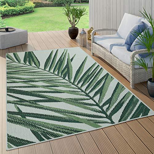 Paco Home Alfombra Exterior Interior Terraza Balcón Cocina Motivos Florales Y Geométricos, tamaño:150 cm Cuadrado, Color:Verde 4