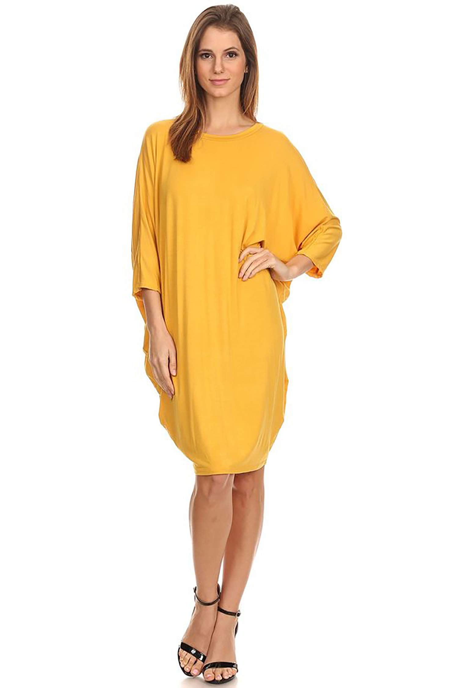 Available at Amazon: Women's Solid Casual Sexy Relax fit Dolman 3/4 Sleeve Side Draped Midi Dress/Made in USA