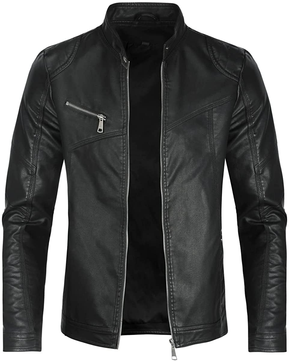 AOWOFS Men's Vintage Faux Leather Jacket Casual Zip Up Motorcycle Bomber Outwear leather Jacket