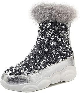 RizaBina Women Fashion Snow Boots with Mid Heels Round Toe Mid Calf