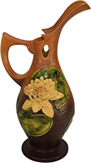Roseville Pottery Water Lily Brown Ceramic Ewer 12-15