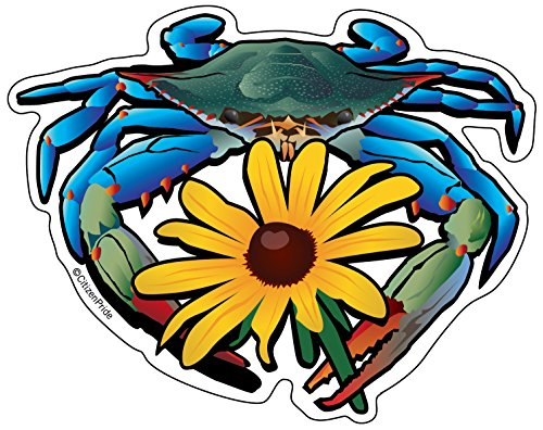 Citizen Pride Blue Crab Maryland Black-Eyed Susan 5x4 inches Sticker Decal die Cut Vinyl - Made in USA