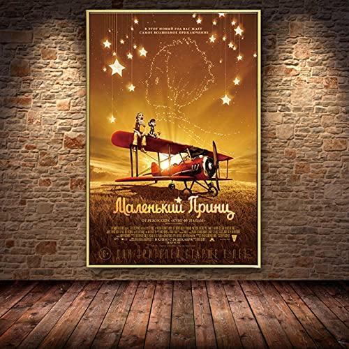 XUSANSHI Impresión de Lienzo Póster de película de Dibujos Animados el Principito Póster e Impresiones Arte de la Pared del Dormitorio de los niños para la decoración del hogar 60x90cm