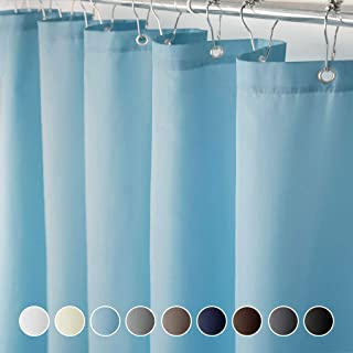 Eforcurtain Home Fashion 72 Inch Wide by 84 Inch Long Bathroom Curtains Water Resistant, Elegant Solid Design Fabric Shower Curtain with Curtain Rings, Light Blue