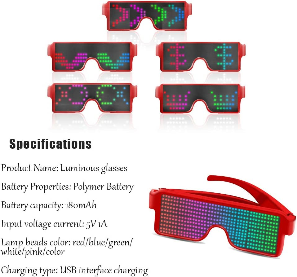 Nightclub Club Wireless LED Display Glasses Red Fun Party AINSKO Fancy LED Light Glasses Dynamic Flash Display Pattern Glasses USB Rechargeable for Festival Costumes Rave Raves Parties Bars